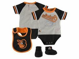Baltimore Orioles  3pc Creeper, Bib, Booties Set Infant Baby