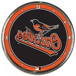 Baltimore Orioles Chrome Round Wall Clock  MLB Sign Banner O