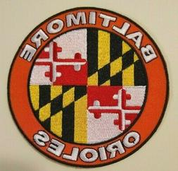 """Baltimore Orioles Maryland Flag Embroidered PATCH~4"""" Round~I"""
