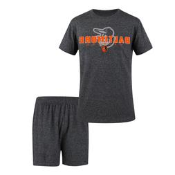 Baltimore Orioles Men's Pajamas Set Tee Shirt Lounge Shorts