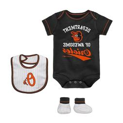 Baltimore Orioles MLB Infant Boys' Bodysuit, Bib & Booties S