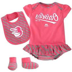 """Baltimore Orioles MLB Majestic Infant Pink """"Pennant"""" Creeper"""