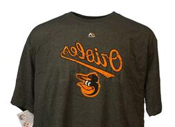 Baltimore Orioles MLB Majestic Weathered Logo Grey T-Shirt,