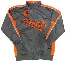 Majestic Charcoal/Orange MLB Baltimore Orioles L/S Tricot Tr