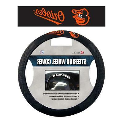 baltimore orioles poly suede steering wheel cover