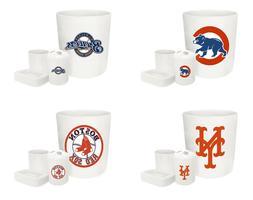 MLB Logo Theme White 4 Pc Bathroom Set Trash Can Toothbrush