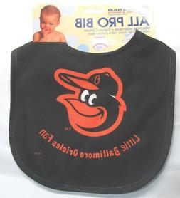 MLB NWT INFANT ALL PRO BABY BIB - ALL BLACK - BALTIMORE ORIO